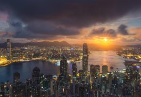 ���� Hong Kong, China, Sunset, ����, ������, ����, ������