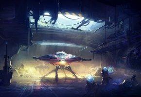 Обои пришельцы, скафандр, фантастика, арт, робот