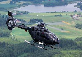 Обои EC135, вертолет, полет, ландшафт