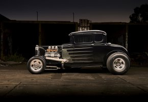 Обои hot rod, car, black