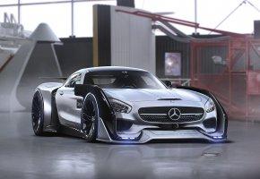 Обои Mercedes-Benz, AMG, GT, Sci-Fi, Future, Tuning, by Khyzyl Saleem