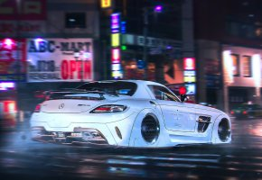 Обои Mercedes-Benz, SLS, AMG, Supercar, White, Night, Future, Tuning, by Khyzyl Saleem
