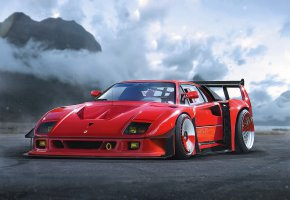 Обои Ferrari, F40, Red, Concept, Car, by Khyzyl Saleem