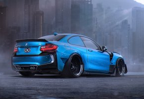 Обои BMW, M2, Body, Kit, Blue, Sport, Car, Future, Tuning, by Khyzyl Saleem