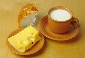 Обои хлеб, сыр, молоко, еда