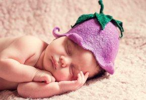 Обои ребёнок, младенец, сон, шапочка, колокольчик