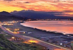 Обои Горы, Море, Побережье, Тайвань, Природа, город