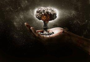 Обои ядерный взрыв, гриб, рука, апокалипсис, взрыв, облако
