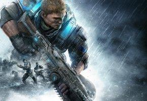 Обои Gears of War 4, Xbox One, Солдат, Экипировка, Оружие, Броня, Перчатки, Винтовка