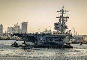 Обои корабли, порт, USS George H.W. Bush (CVN 77), оружие, армия, авианосец