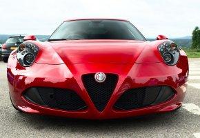 Обои Alfa Romeo, 4C, красный, передок