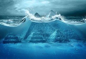 Обои Пирамида, Вода, Океан, волны, брызги, Небо, Руины