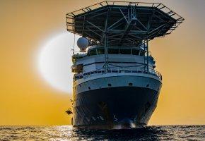 Обои корабль, лайнер, солнце, рассвет, море