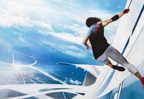 Обои Mirror\'s Edge Catalyst, Faith, Electronic Arts, девушка, небоскреб