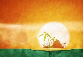 Обои остров, пальма, океан, солнце, гора, фон