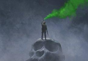 Обои Кинг Конг: Остров черепа, Kong: Skull Island, фэнтези, постер, туман, огромный, череп, солдат, оружие, зеленый, дым