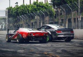 Обои Lamborghini Miura, Ford Mustang RTR, Drift, Cars, Rear, by Khyzyl Saleem