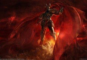 Обои монстр, демон, воин, рога, красный, плащ, фантастика