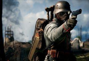 Обои Battlefield 1, Electronic Arts, война, солдат, немец, оружие, пистолет