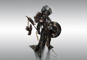 Обои спартанец, воин, оружие, щит, доспехи, копье, spartan