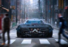 Обои Ferrari, 458, Italia, Grey, City, Rear, Future, Tuning, by Khyzyl Saleem