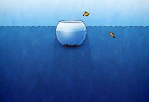 Обои Аквариум, вода, рыбки