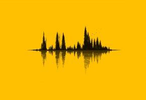 Обои деревья, остров, вода, отражение, фон, желтый