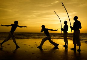 Обои капоэйра, боевое исскуство, пляж, Джерикоакоару, Бразилия