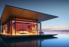 Обои дом, уют, стиль, море, вечер, огни