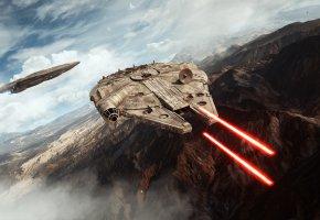 Обои Star Wars, Battlefront, Game, Звездные войны, Тысячелетний Сокол