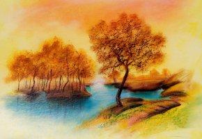 Обои живопись, деревья, река, рисунок, пейзаж, осень