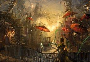 Обои Ночь, город, мост, река, лодка, зонты, мельница, провода, женщина, лента