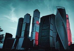 Обои Москва, Сити, вечер, здания, город