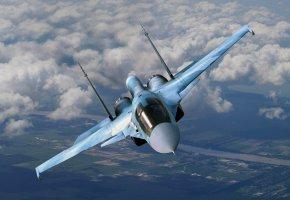 Обои Небо, истребитель, Су-34, полет, кабина