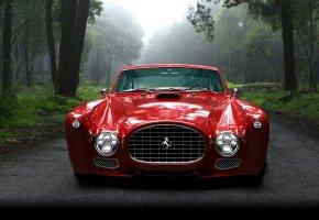 Обои Ferrari, красный, ферари, ретро, лес