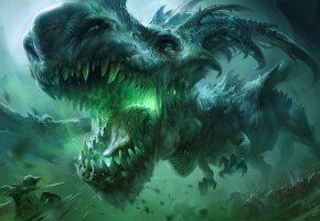 Обои дракон, армия, воины, бой, фантастика, морда, клыки