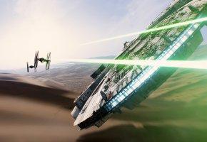 Обои Звездные Войны, Хан Соло, звездолет, Тысячелетний Сокол, лазеры