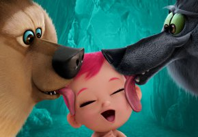 Обои Storks, film, cinema, animal, baby, wolf, ребенок, волк, медведь, язык