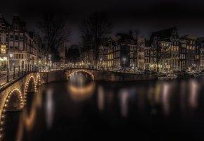 Обои Амстердам, Нидерланды, мост, ночь, огни, дома