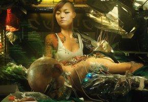 Обои арт, девушка, андроид, ремонт