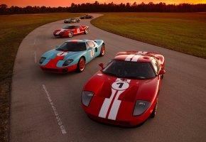 Обои Ford, GT, cars, four, авто, форд, трасса