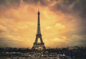 Обои город, башня, Париж, дома, дороги