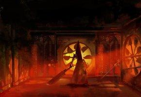 Обои Silent Hill, Сайлент Хилл, Pyramid Head, Пирамидоголовый, монстр, тесак, ржавчина, вентили, арт