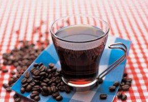 Обои чашка, кофе, зерна, стол