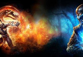 Обои графика, логотип, огонь, Мортал Комбат, Mortal kombat, Саб-Зиро, Скорпион, ниндзя, битва