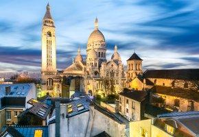 Обои Франция, Париж, храм, дома, крыши, вечер, огни