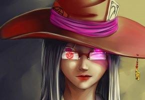 Обои Ведьма, черная магия, колдовство, ухмылка, пентаграмма, горящие глаза, шляпа