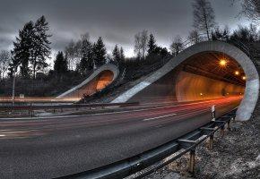 Обои дорога, туннель, вечер, огни