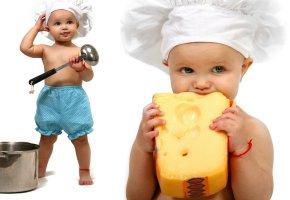Обои ребенок, повор, сыр, кастрюля, поварешка