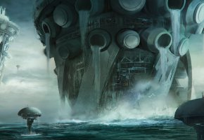 Обои Scyphozoan city rising, океан, вода, сооружения
